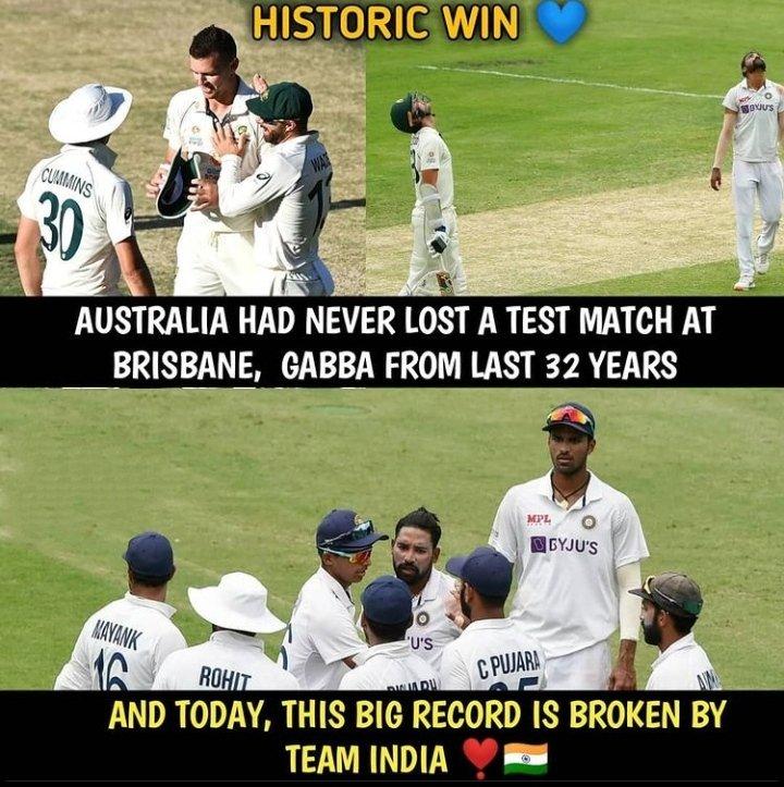 Wowww what a win!! Fabulous @RishabhPant17 @RealShubmanGill @Sundarwashi5 @cheteshwar1 👏👏😍😍 congratulations #TeamIndia 🎊🎊 🇮🇳🇮🇳🇮🇳🇮🇳🇮🇳🇮🇳🇮🇳🇮🇳❤️ proud moment for all indians ❤️😎 very well played team 🔥🔥😍👏👏❣️  #BorderGavaskarTrophy 🏆 #INDvsAUS