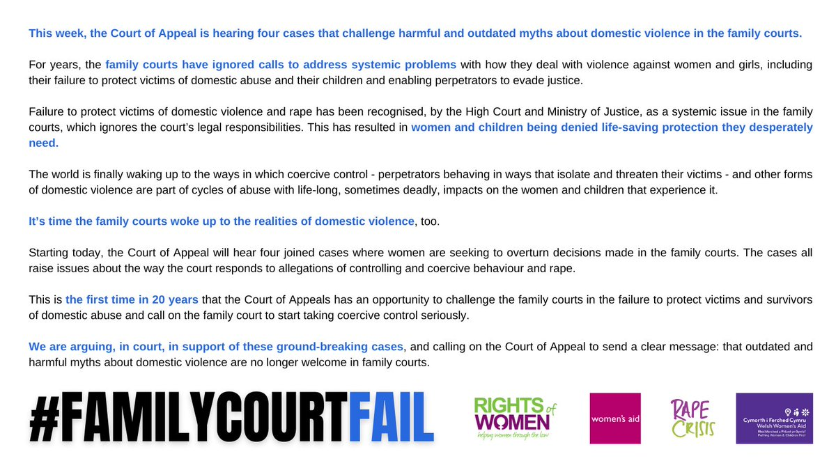 The family courts have been ignoring their legal responsibility to take domestic violence, including coercive control and rape, seriously.   It's time the family courts face the facts about domestic violence.   #familycourtfail  @RapeCrisisEandW @womensaid @WelshWomensAid