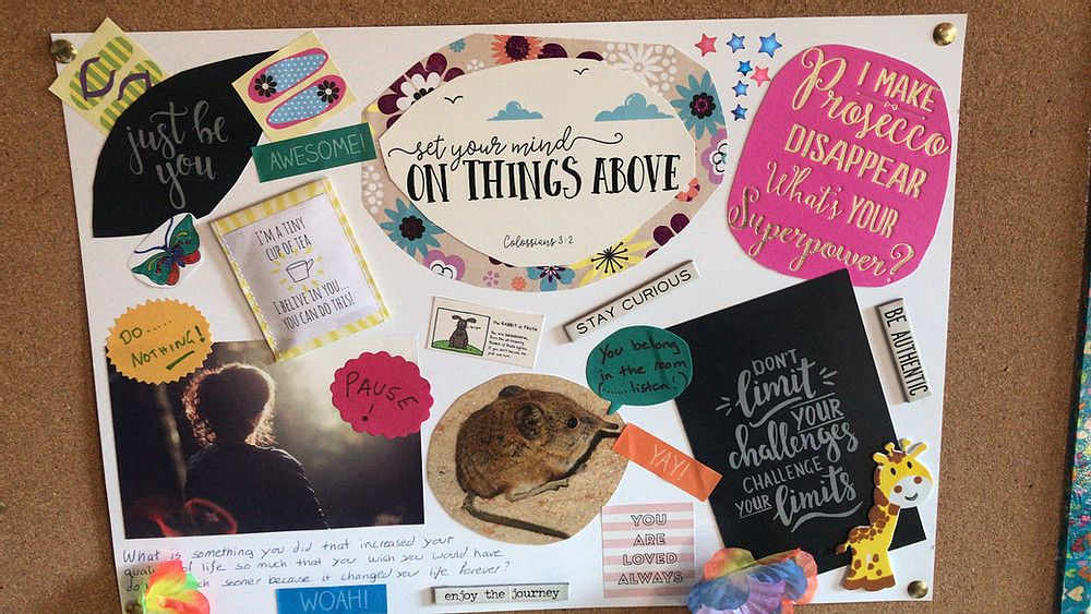 What would be on your vision board if you created one?  Make sure creating your vision board is a fun and useful experience with this helpful guide.   #carers #VisionBoards #wellbeing