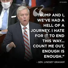 "@LindseyGrahamSC #LindseyGrahamResign  What does Trump have on you? You said ""enough is enough"" and now you tell everyone to just forget that Trump incited an insurrection! Jesus what is wrong with you? IMO you have the spine of a jellyfish! RESIGN!"
