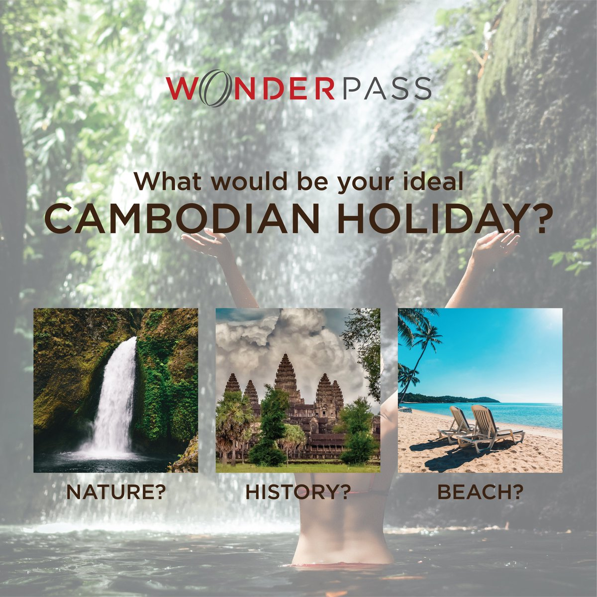 IMAGINE... it's some time in the future... you arrive in Cambodia on a fun-loving holiday... What is the first kind of experience you'd like to have? 🤔 Nature escape? 🌿 Angkor Wat historical adventure? 🌄 Or paradise beach? 🏖️  #Wonderpass #Tourism #Cambodia