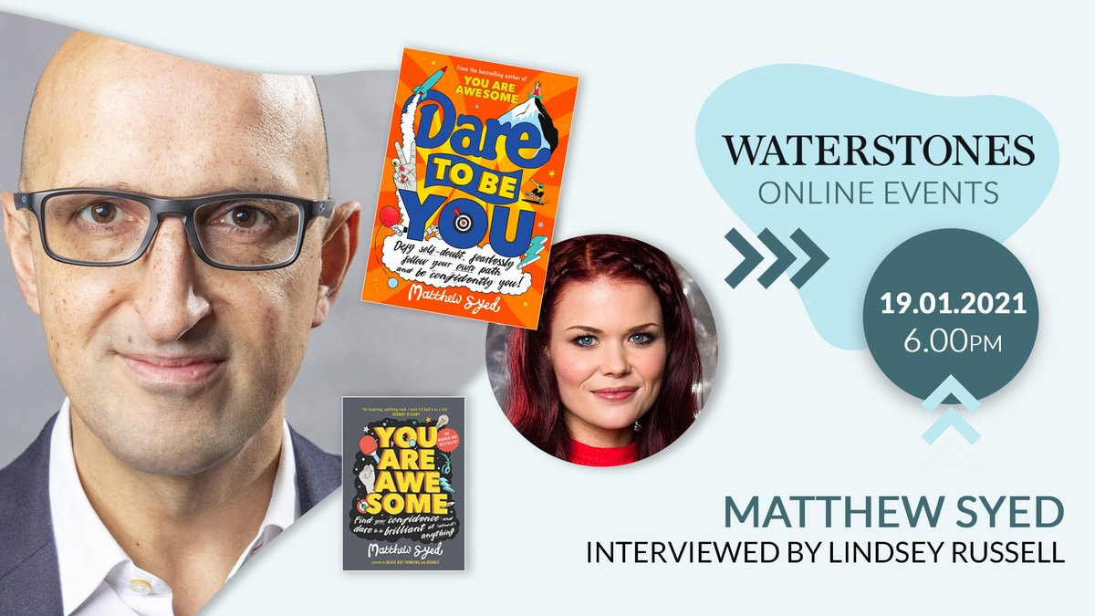 There's still time to get your tickets for this Awesome online event tonight!  Join #DareToBeYou author @matthewsyed & presenter @Linds_bluepetertalking about inspiring kids to find their confidence and follow their own path! 🌟  More info and tickets: