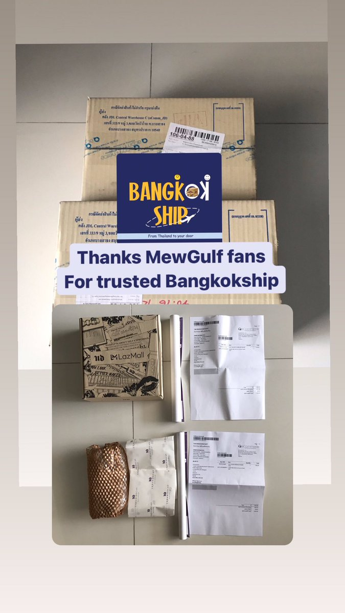 Thanks international fans of #MewGulf for trust Bangkokship.🙏🏻 Overseas customer can shopping in Thailand when register with us no fee and receive your own Thailand address for shopping. #thaimerch #MewSuppasit #GulfKanawut #shiptoworldwide #thaiaddress