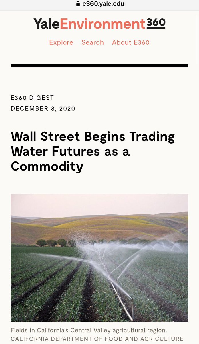 -Wall Street has begun trading water as a commodity, like gold or oil. #WallStreet #WaterTrading #BettingOnWater #CME #NYSE #California #ClimateCrisis #ClimateChange #StockMarket #trading #Drought #ClimateAction #ClimateJustice #WaterIsLife #SaveOurWater #SaveOurFuture #SaveEarth