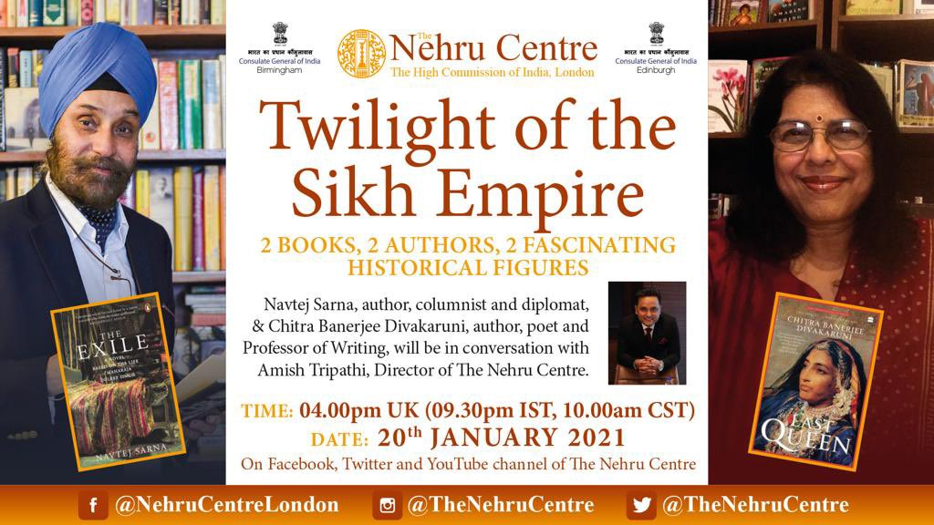 2 Fascinating Historical figures, 2 Books and 2 Authors in Discussion with @authoramish  Please join us as The Director of @TheNehruCentre engages in a conversation with author, columnist & diplomat @NavtejSarna & author, poet & professor of writing, @cdivakaruni