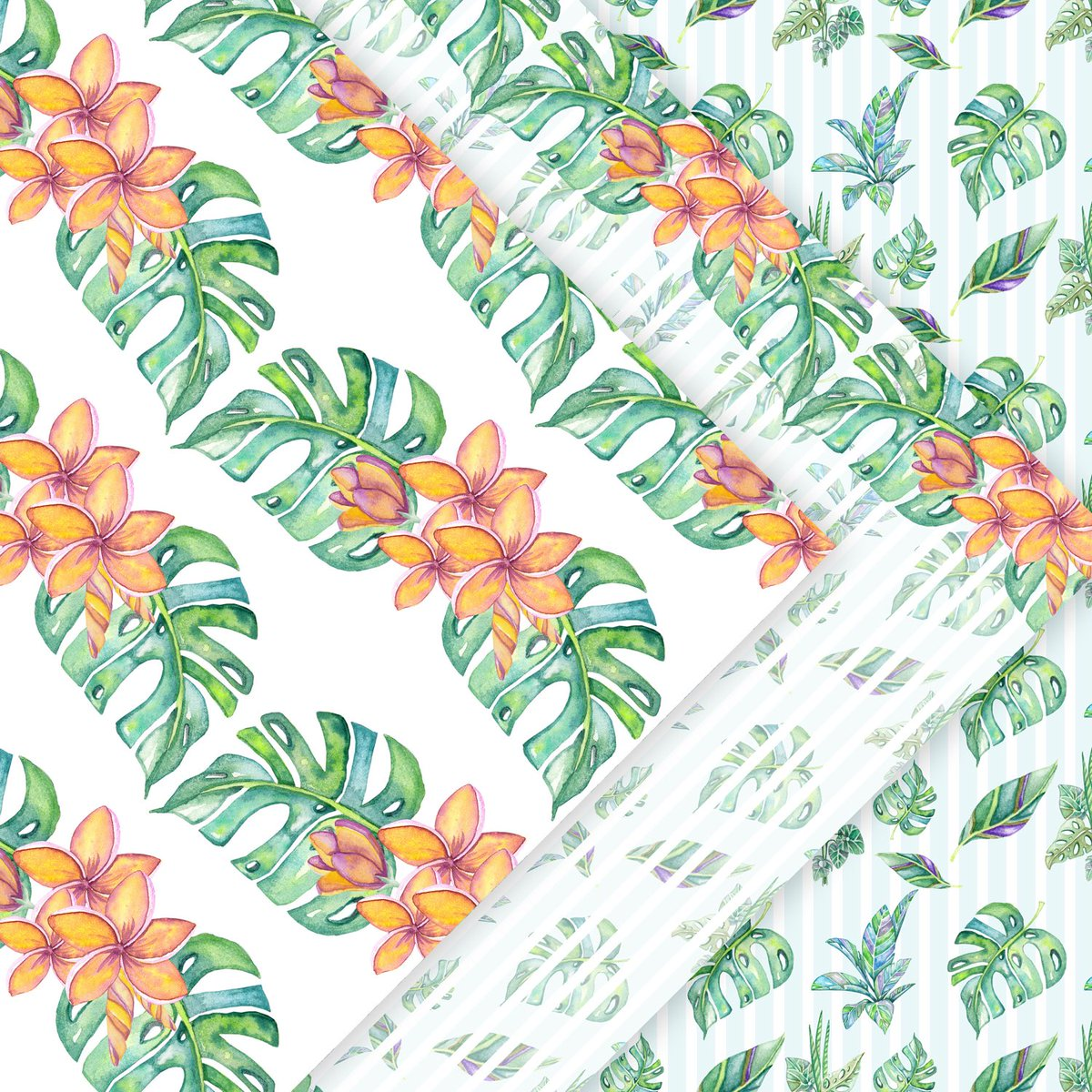 Excited to share this item from my #etsy shop: Monstera plant, Plumeria plant, Digital paper pack, Tropical flowers monstera watercolor Hawaii flowers Tahiti paper aloha party patterns #pink #floral #mothersday #monsteraplant  #plumeria #inaartsstudio