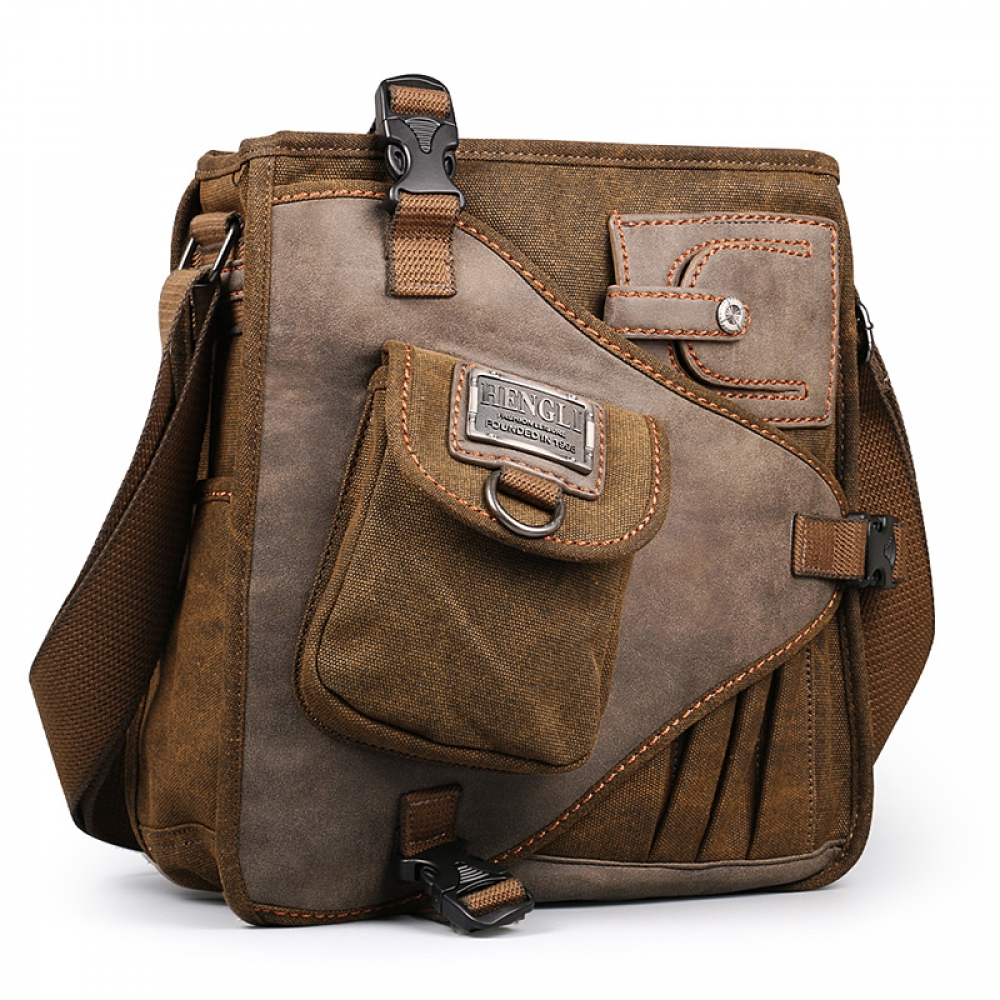 #model #quote Retro Canvas Multifunction Man Vintage Handbag European American Style