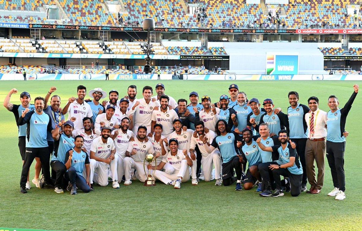 Superb series #AUSvsIND congratulations to #TeamIndia and Kudos to @RishabhPant17 @RealShubmanGill @Sundarwashi5 @imShard @cheteshwar1 @Hanumavihari @ashwinravi99 #Siraj who created more interest on test matches. I think @cheteshwar1 is the 2nd wall next to #RahulDravid.