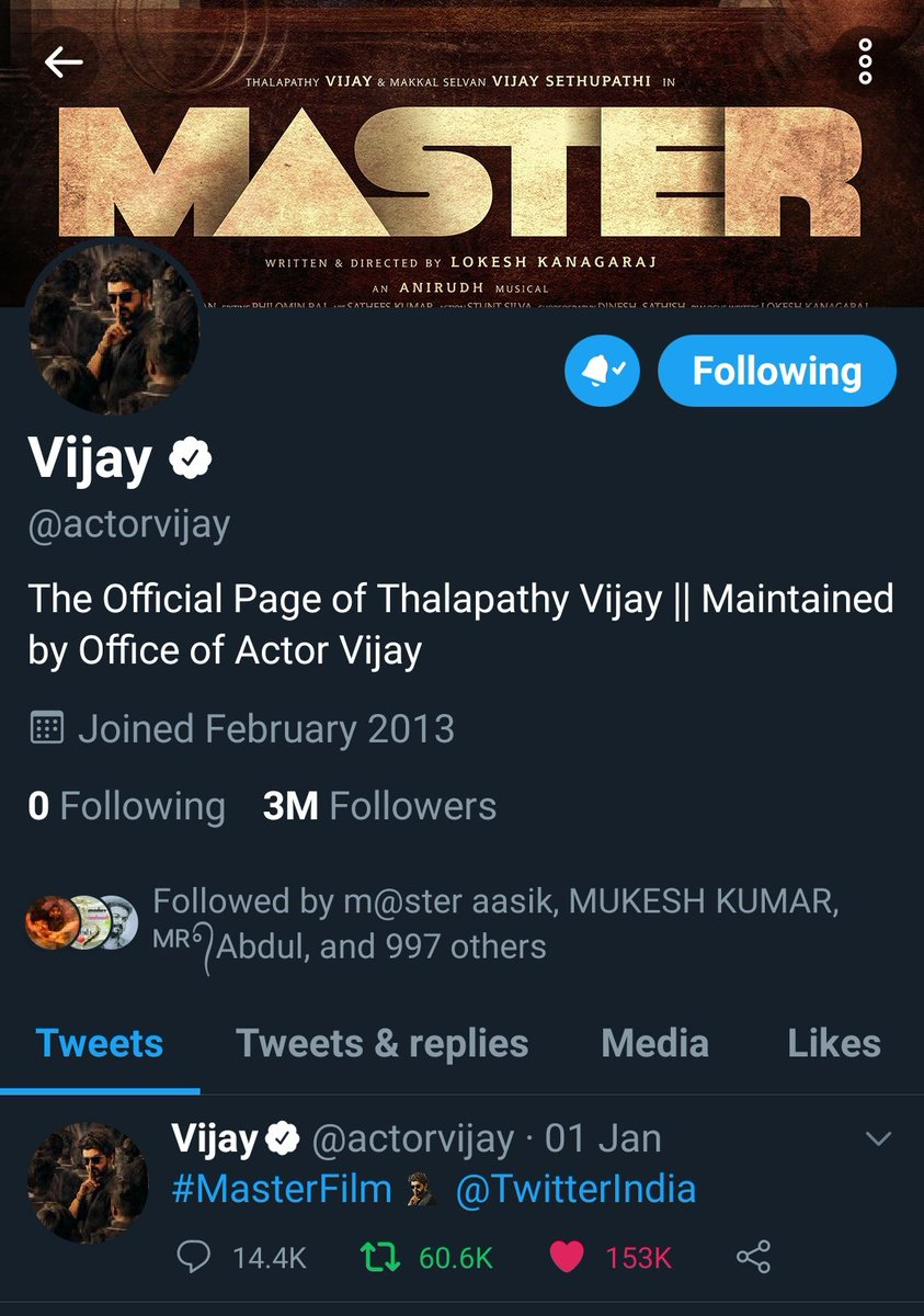 Thalapathy @actorvijay Twitter Account gains 3M Followers 😻  #Master #MasterFilm