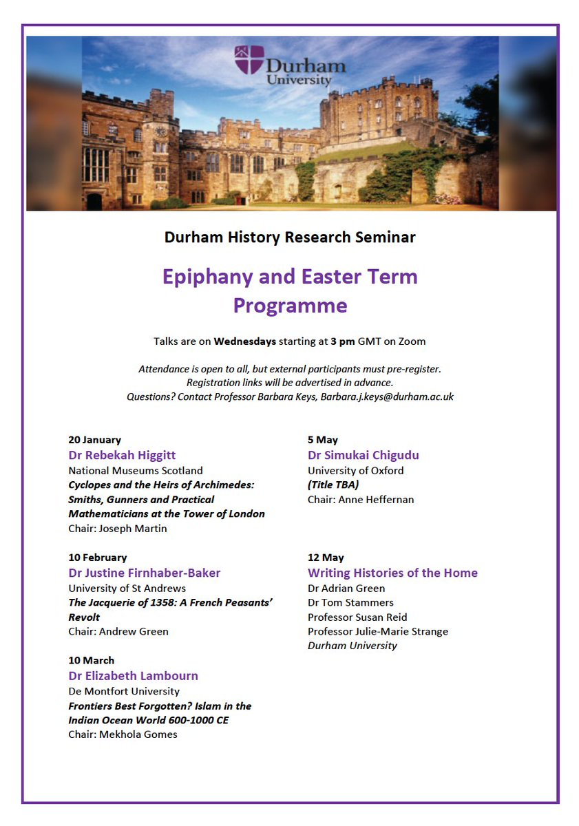 Durham History Research Seminars for the rest of the year. Open to all! Follow me for the registration links. https://t.co/c9aTIaKwEc