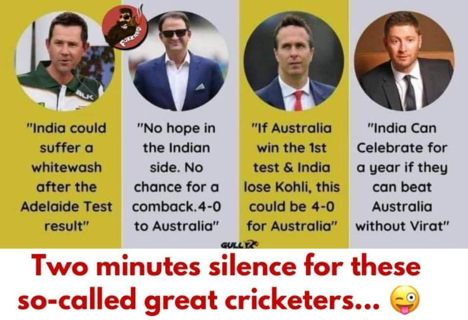 @RickyPonting @juniorwaugh349 @MichaelVaughan @MClarke23 where are you guys hiding now😂 @BCCI do make sure that these guys are no where near @IPL 😂 #AUSvsIND