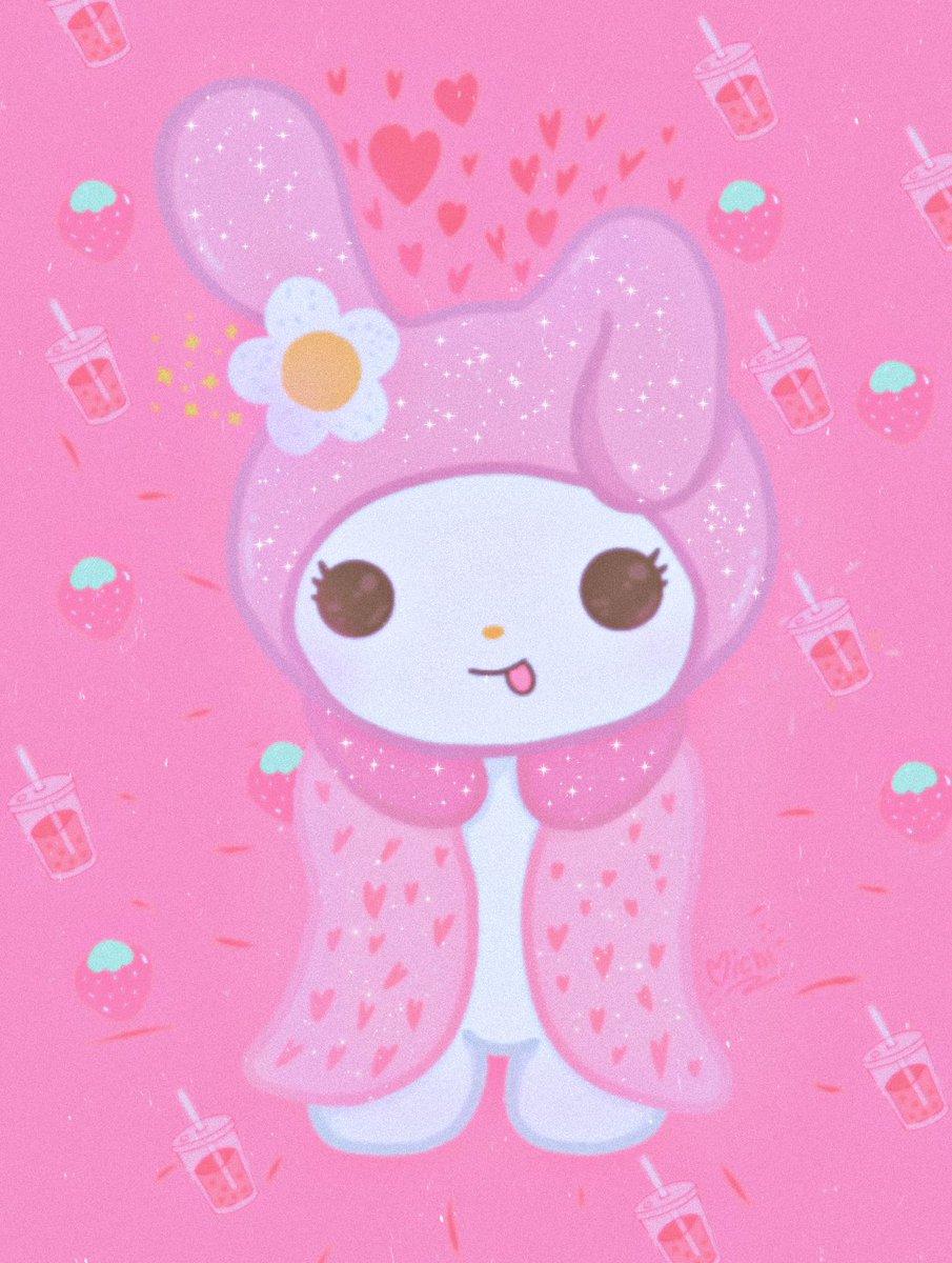 Se me dió por dibujar a Melody, y pues AHhH 💕 se dió <3  #Melody #Mymelody #Kuromi #fanart #digitalart #ibisPaintX #Pink #strawberry #juice