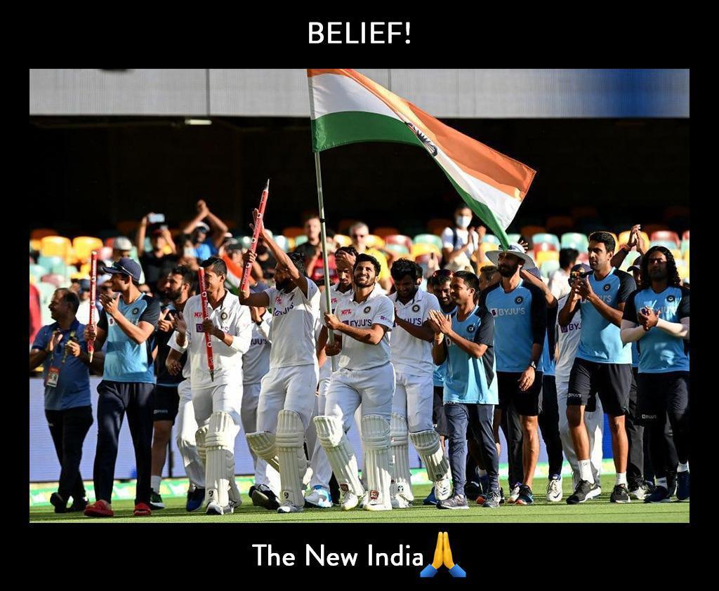 Congratulations Team India for this historic win! The future of cricket is shining bright. 💪🙏  #TeamIndia #historicwin #GabbaTest #BorderGavaskarTrophy #NewIndia