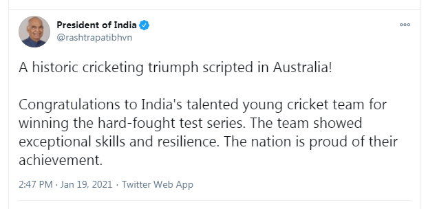 #INDvAUS | A historic cricketing triumph scripted in Australia: President Ram Nath Kovind tweets (@rashtrapatibhvn)   #TeamIndia   Read more: