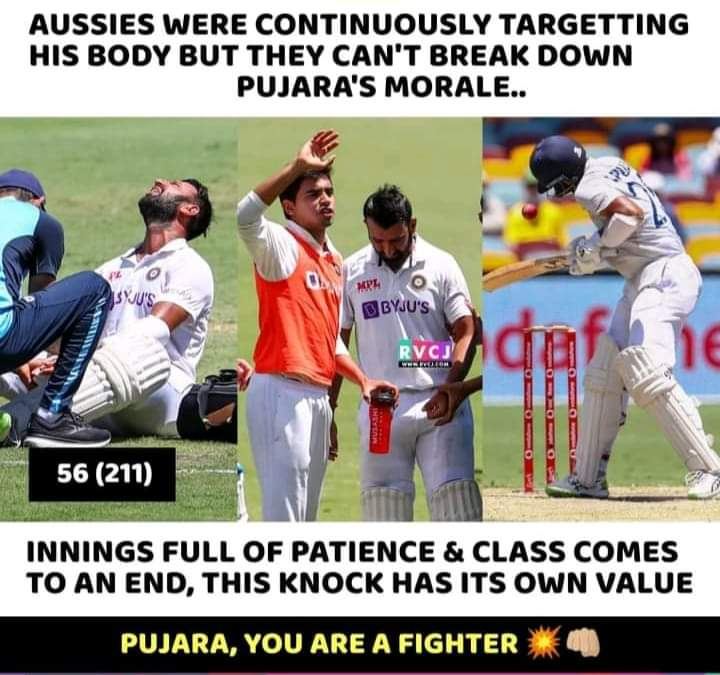 Pujara played 211 balls today. That's what destroyed the Aussie bowlers helping all other batsmen .This is the importance of Pujara 💥💥🙏 He Deserves Cup 🏆🏆🏆 Real warrior #pujara 🙏🙏 #INDvAUS #AUSvsIND  #TeamIndia #IndianCricketTeam #IndiavsAustralia