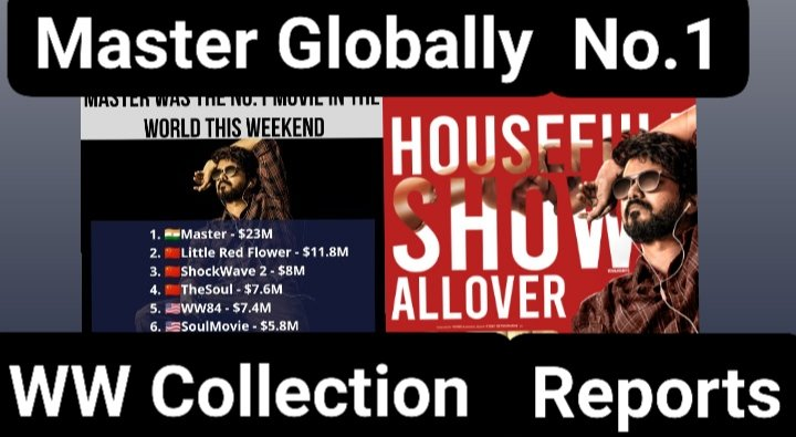 Here it's My View about #Master Movie WW Box office collection Report.,Hope u like it 😇🙏  Link 👇 https://t.co/jVMHWtHPkg   SHARE - SUBSCRIBE   #MasterGloballyNo1 #MasterTheGlobalTopper #MasterTheBlaster #MasterFilm #MasterPongal #MasterSneakPeak #MasterRaids #VijayTheMaster https://t.co/BqO54iOGZA