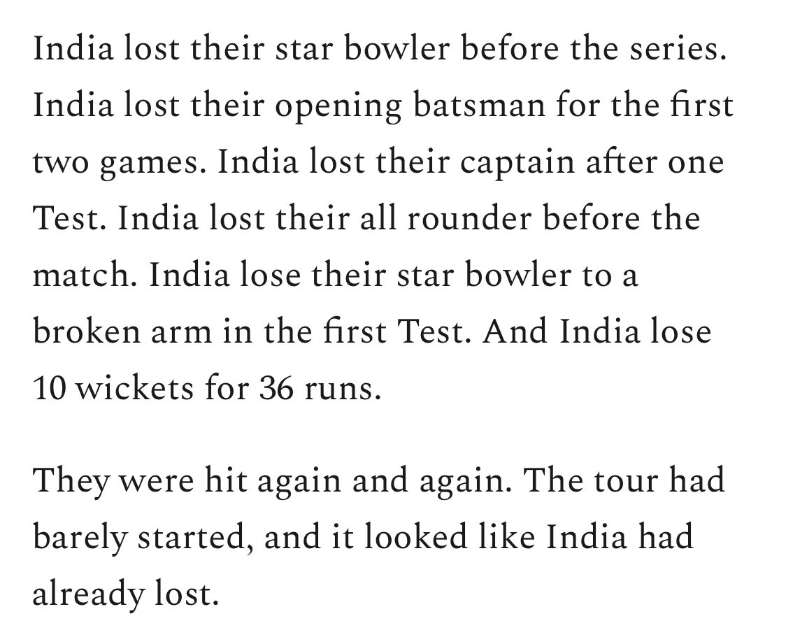 Perfection from @ajarrodkimber wickets.substack.com/p/india-hit