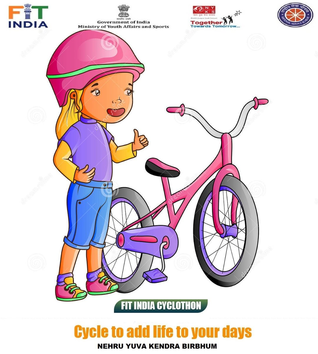"Fit India Campaign - December 2021  *Post your 10 Seconds Video with  ""फिटनेस की डोज, आधा घंटा रोज"" & #NewIndiaFitIndia .  *Use Fit India App for Fitness Assessment.  Organize a Fit India Cyclothon & get an e-certificate.  Register at   #NewIndiaFitIndia"