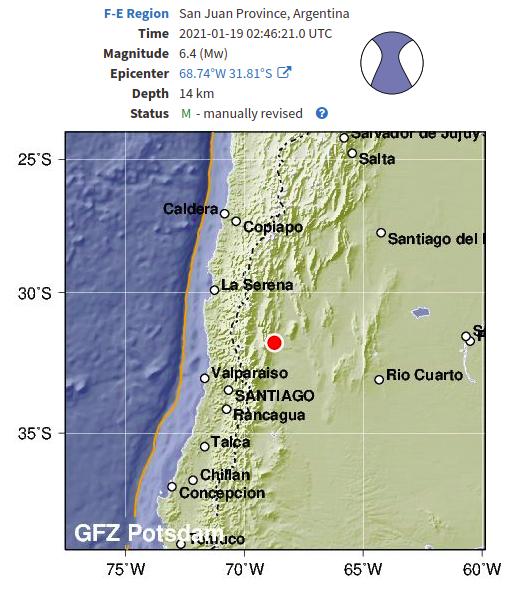 Fuerte #Temblor en San Juan, Argentina debido a falla cortical.   No es terremoto