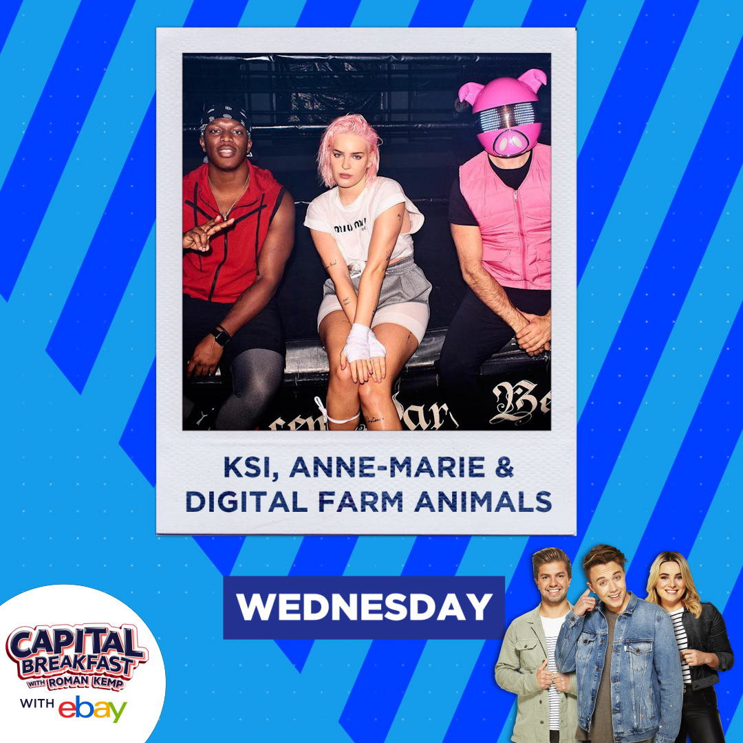 What's better than one guest on a Wednesday?  How about THREE, as Capital Breakfast with @romankemp is joined by @KSI, @AnneMarie and @DigiFarmAnimals. 🥊