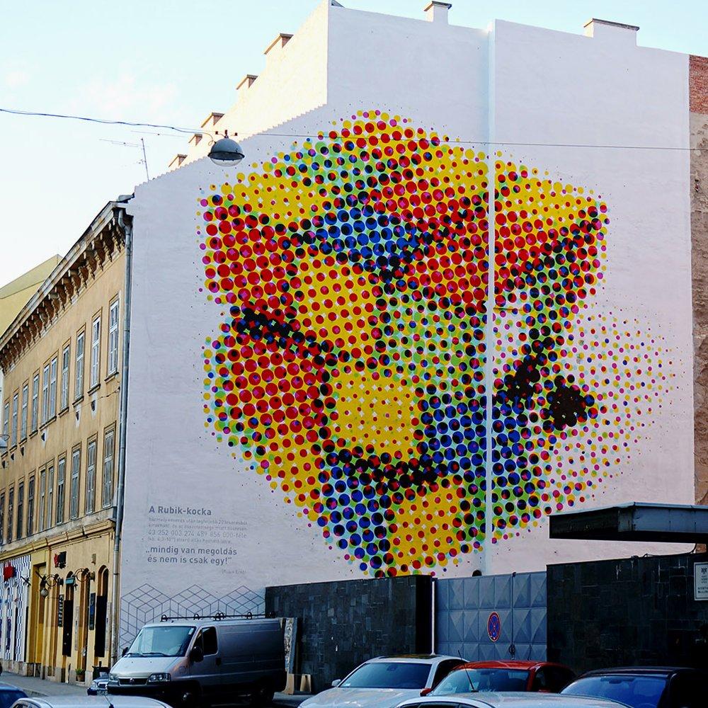 """Rubik Cube"" by Neopaint Works in Budapest, Hungary #streetart"