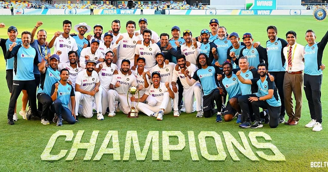 CHAMPIONS: A very proud moment for India! Our Team India creates history, wins series 2-1 against Australia at their Home. Many many Congratulations on the historic win, Team India and the people of India!!  Jai Hind 🇮🇳 #AUSvsIND