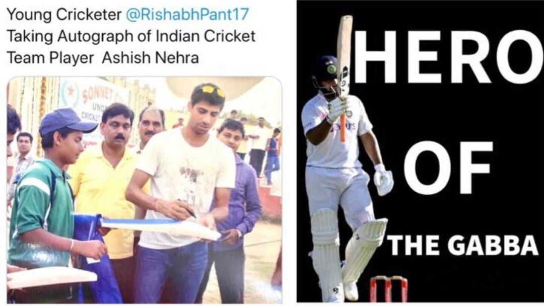 #RishabPant  🏏💯✨ Throwback to when young Rishabh Pant took an autograph of #ashishnehra ♥️ Vs Now, being the absolute hero of the #GabbaTest  🏆  #CricketLive #INDvAUS #IndiavsAustralia #Pant #BorderGavaskarTrophy #IndianCricketTeam