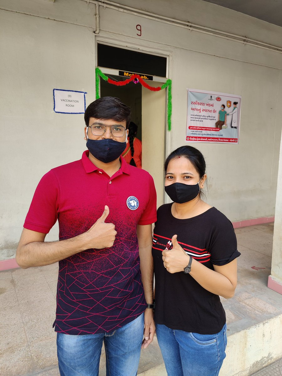 Today Taken First Dose of Covishield Vaccine With Wife Dr Jagruti... I Request All the Health Care Workers, Frontline Workers to Take vaccine without Hesitancy... District RCHO - Morbi @GujHFWDept  @MoHFW_INDIA  @CollectorMorbi  @ddomorbi1 @info_morbi  @CdhoMorbi https://t.co/pqMrS31LYB