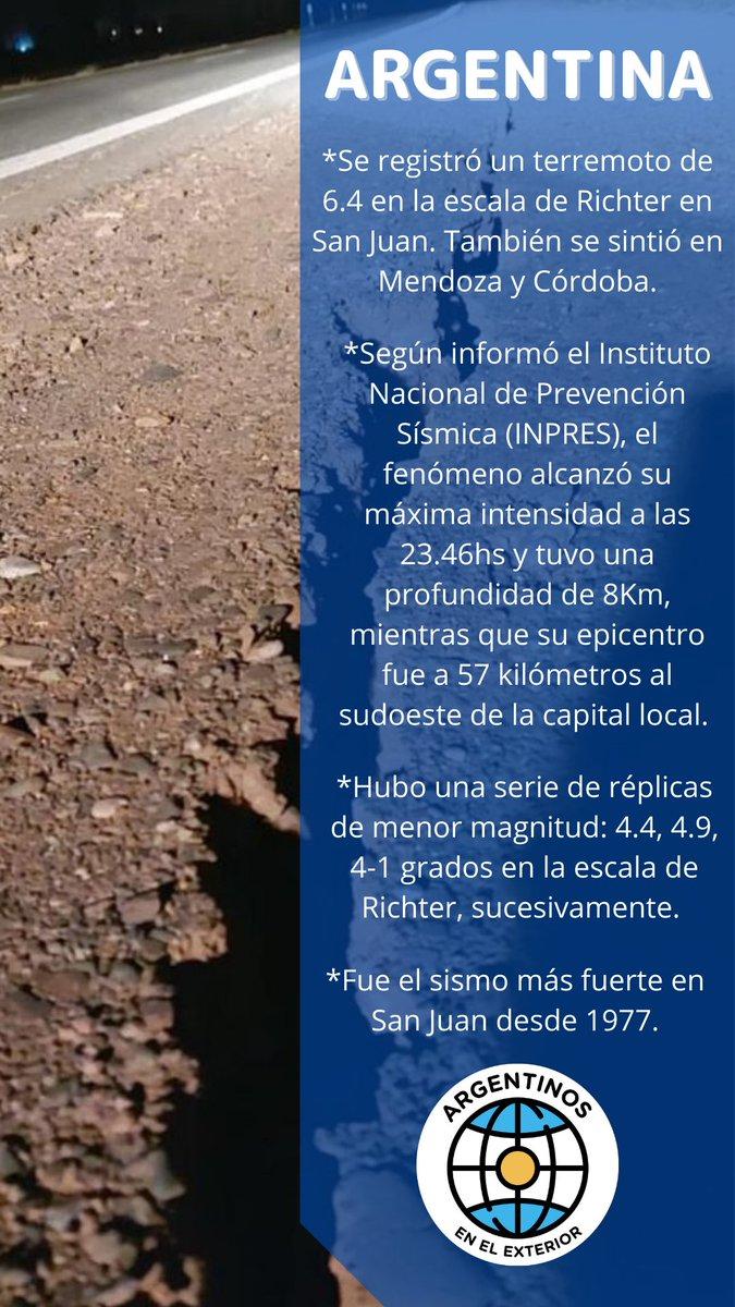 #ARGENTINA  Fuerte #sismo en #SanJuan. También se sintió en #Mendoza y #Córdoba.  #Terremoto  #SismoSaJuan  #ArgentinosEnElExterior https://t.co/s2xXsuRFLH