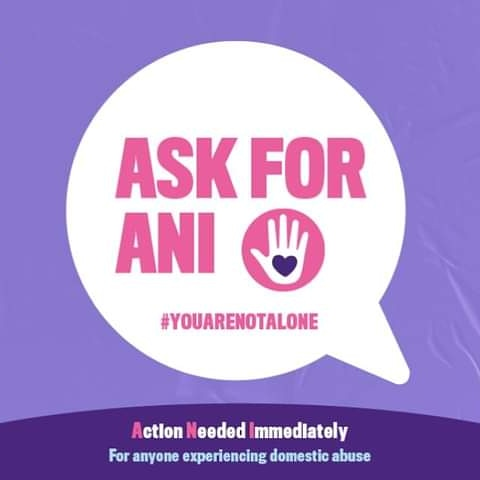 The government has teamed up with independent pharmacies & @BootsUK to launch a domestic abuse Ask for ANI codeword scheme.  The scheme allows those at risk or suffering to discreetly signal they need help & support.  Look out for this sticker 🖐💜 #youarenotalone #askforani https://t.co/Y1OGNU2BwP