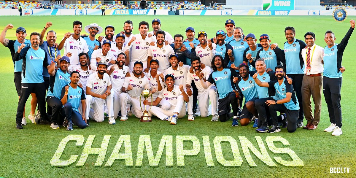 Many congratulations to the Indian Cricket team for winning the #BorderGavaskarTrophy! 🏆  The young & fit players of team India created history after a cracking performance at the Gabba! 🎉  #AUSvsIND #NewIndiaFitIndia  @BCCI @RishabhPant17 @RealShubmanGill @ajinkyarahane88