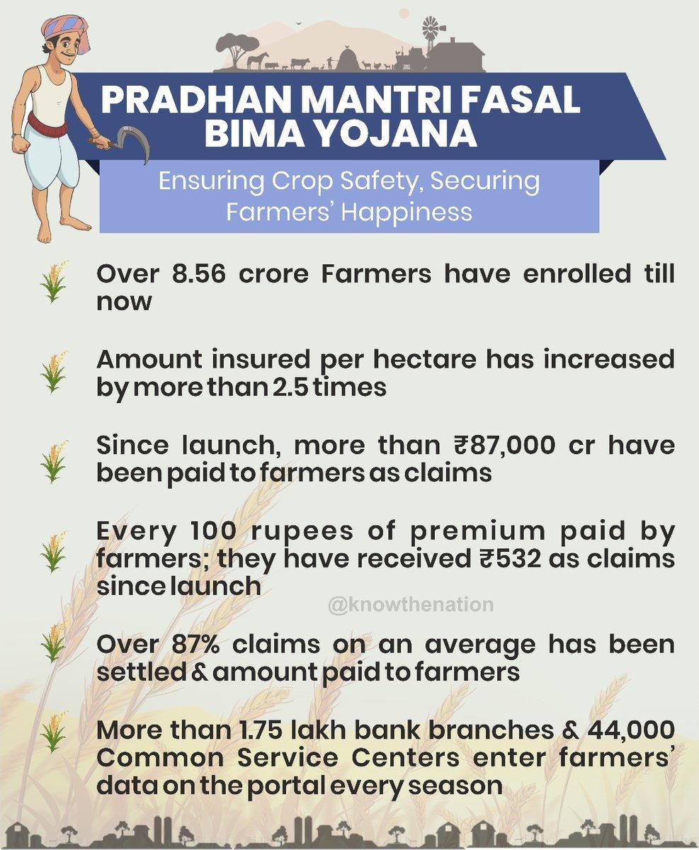 Pradhan Mantri Fasal Bima Yojana achieved several milestones since its launch. Let's have a look:  #FasalBima4SafalKisan