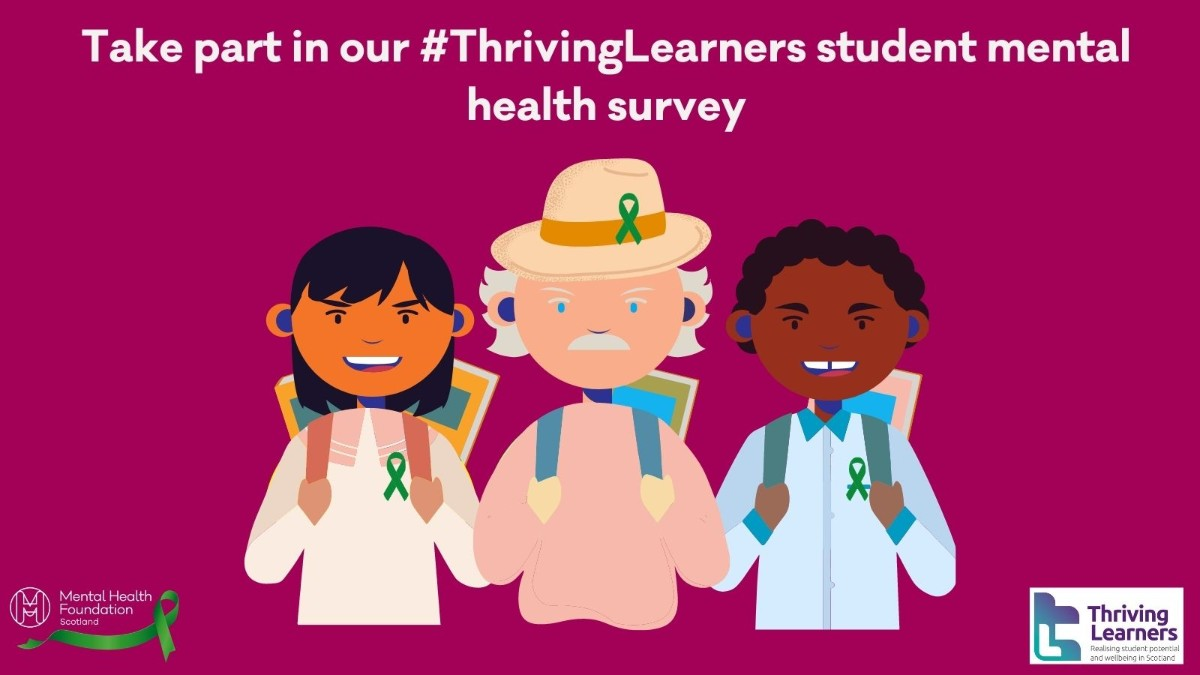 Share your views on student mental health by taking part in the #ThrivingLearners survey from @MHFScot @uni_scot @RobertsonTrust.   There's £200 in prizes to be given away in a prize draw ➡️ https://t.co/srEcL2gWrk https://t.co/zvMJIsiZMd