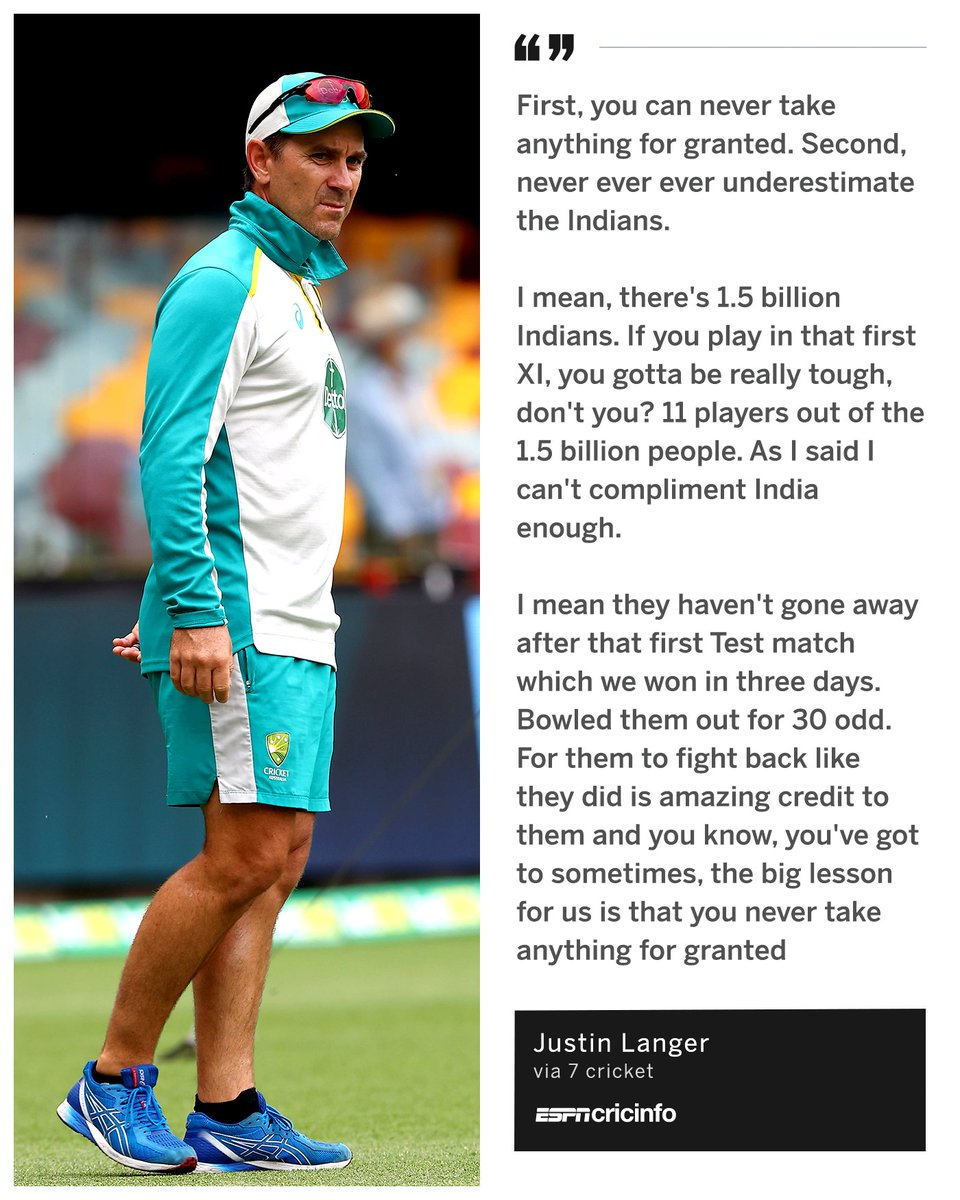 "Replying to @ESPNcricinfo: Justin Langer 🗣️ ""Never ever ever ever underestimate the Indians""   #AUSvIND"