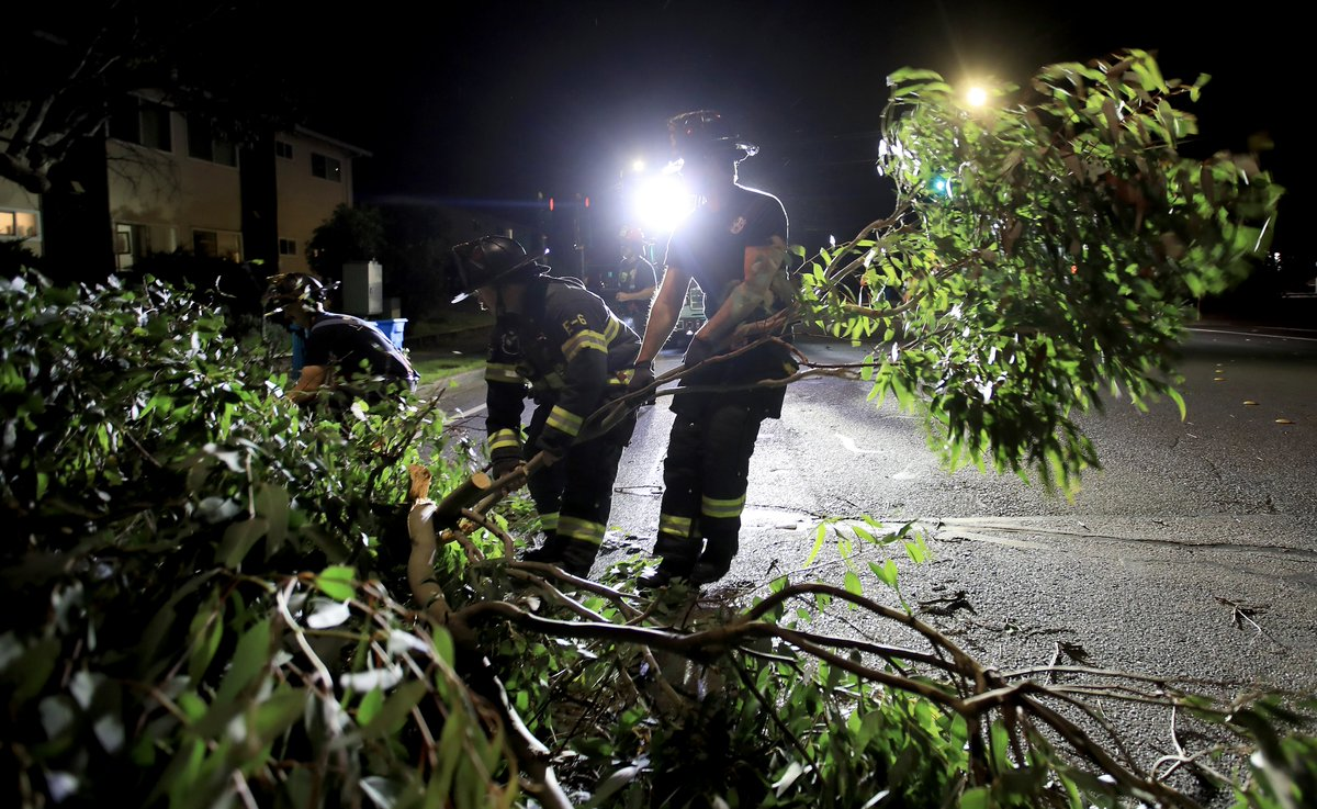 @SantaRosaFire @SoCoFireDist  working in dangerous conditions tonight. Trees down everywhere. @NorthBayNews https://t.co/64YV4FI66m