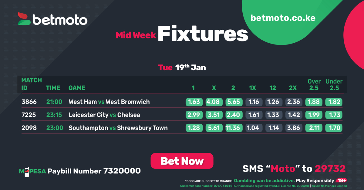 🏴 Midweek Premier League action continues 😍 Follow todays English Premier League action 🔎  #EPL #BetmotoKenya #TuesdayMotivation