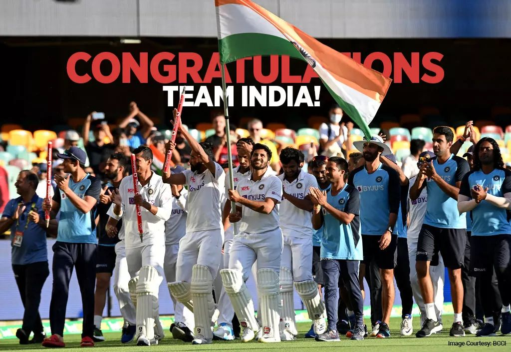 36 all-out in Adelaide ➡️ Series poised in the #BoxingDayTest ➡️ A classic draw at the SCG ➡️ Fortress breaching win at the Gabba 🤩  #TeamIndia, you've made us all proud 🇮🇳  #AUSvINDtest