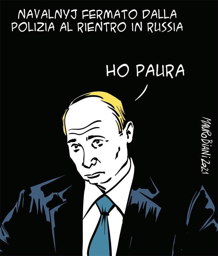 #Navalnyi fermato dalla polizia al rientro in #Russia. Ho paura #Putin  #Navalnylibero  #AlexeiNavalny  #FreeNalvany  @maurobiani per @repubblica
