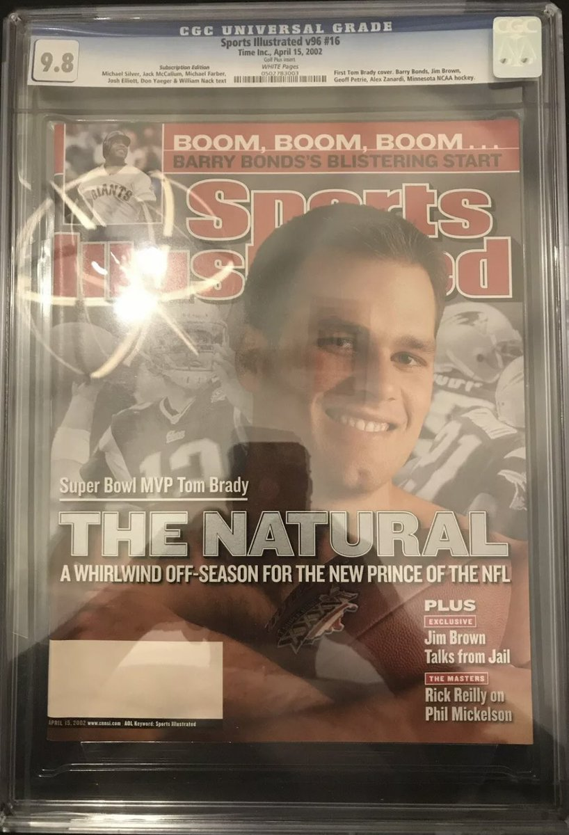 Tom Brady is still in the playoffs at 43.  Here's his first Sports Illustrated cover from 2002.  This subscription issue graded at 9.8 just sold for $1,000!  #tampa #Patriots #NFL #Bucs #tuesdaymotivations #tuesdayvibe #TuesdayFeeling #klay #lakers #curry #draymond #mets #dubs https://t.co/9CoNtfyRsy