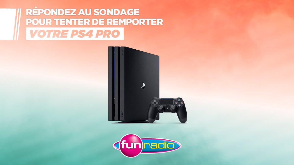 Répondez à ce sondage pour tenter de remporter votre PS4 Pro / des packs et des compilations #FunRadio 👉  ♥️