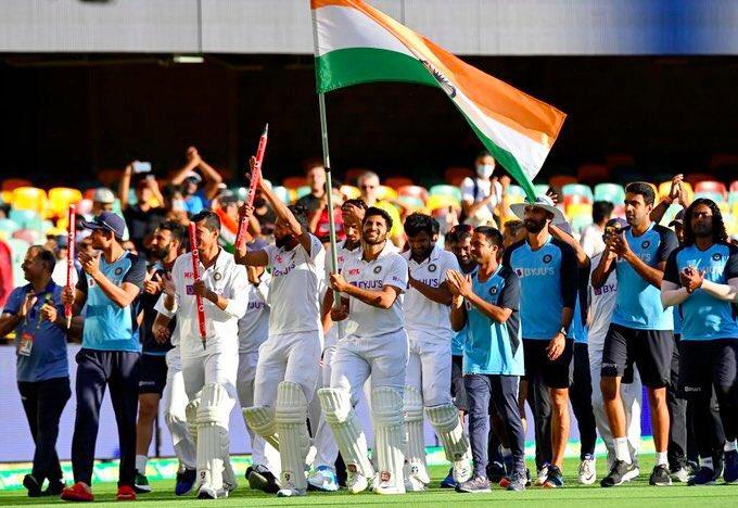 Greatest Victory at Gabba!  Test cricket at its best.  #IndianCricketTeam #Gabba #TeamIndia #IndiavsAustralia #AUSvsIND #INDvsAUS  #testmatch #TestCricket #BorderGavaskarTrophy #brisbanetest #Brisbane #TestofChampions #testchampionship #Champions