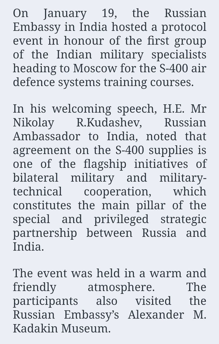 Russian Embassy in India  hosted a farewell event in honour of a group of the Indian military specialists heading to Russia for the S-400 training courses.  #India #Russia #S400