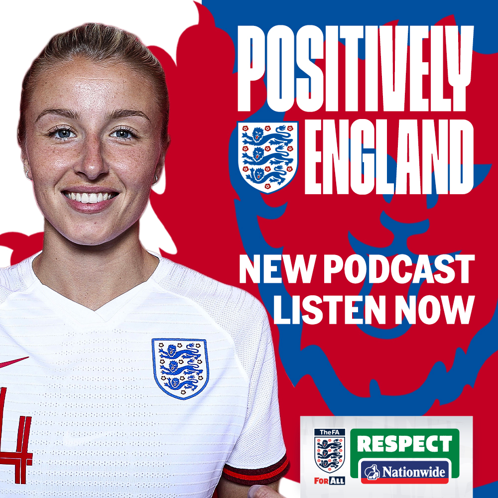 Positively England 🎙  A brand-new podcast with the #ThreeLions and #Lionesses as part of the FA's 21 Days of Positivity. Up next: it's Leah Williamson   👉