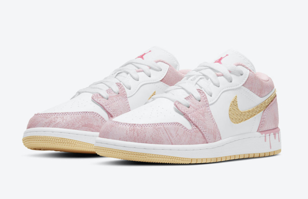 "Air #Jordan 1 Low GS ""Paint Drip"" Color: Arctic Punch/Pale Vanilla-White Style Code: CW7104-601 Release Date: 2021 Price: $75"