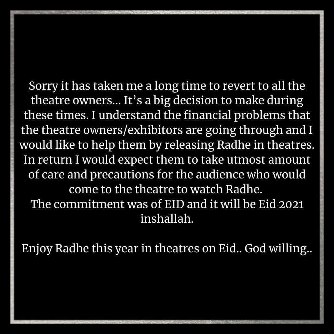"Kaha Tha Na...Commitment, toh Commitment Hai... #Radhe ""ONLY IN CINEMAS"", this #Eid. @BeingSalmanKhan sets the record straight, addressing the concern of the exhibitors of India! #RadheThisEid"