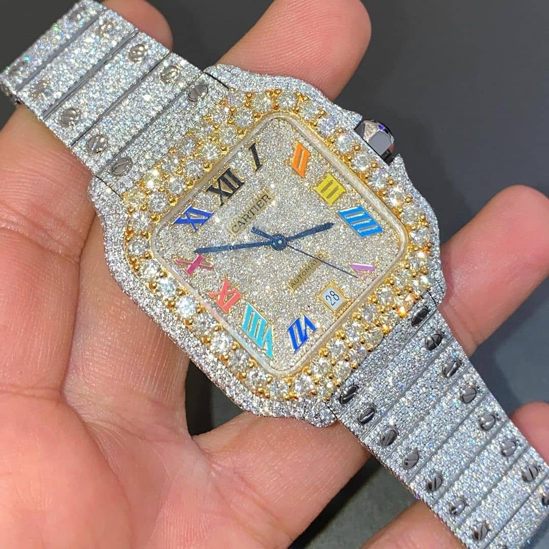 Icedout rose gold rainbow🌈 cartier watch limited edition. Buss down the cartier Contact us for reservations  #cartier #rosegold #diamondwatch #luxuryjewelry #icedout #icedoutwatch #ice #bussdownjewelry #freshprince #icedoutjewelry