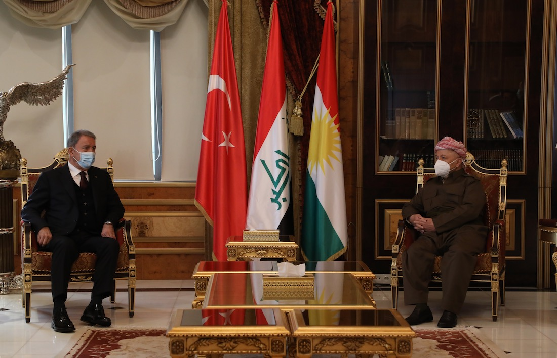 Pleased to receive Mr. Hulusi Akar, Turkey's Minister of @tcsavunma  today at the Barzani HQ. We discussed the ongoing cooperation between Iraq, the Kurdistan Region and Turkey and stressed the significance of further strengthening that correlation. https://t.co/aga7yJxUME