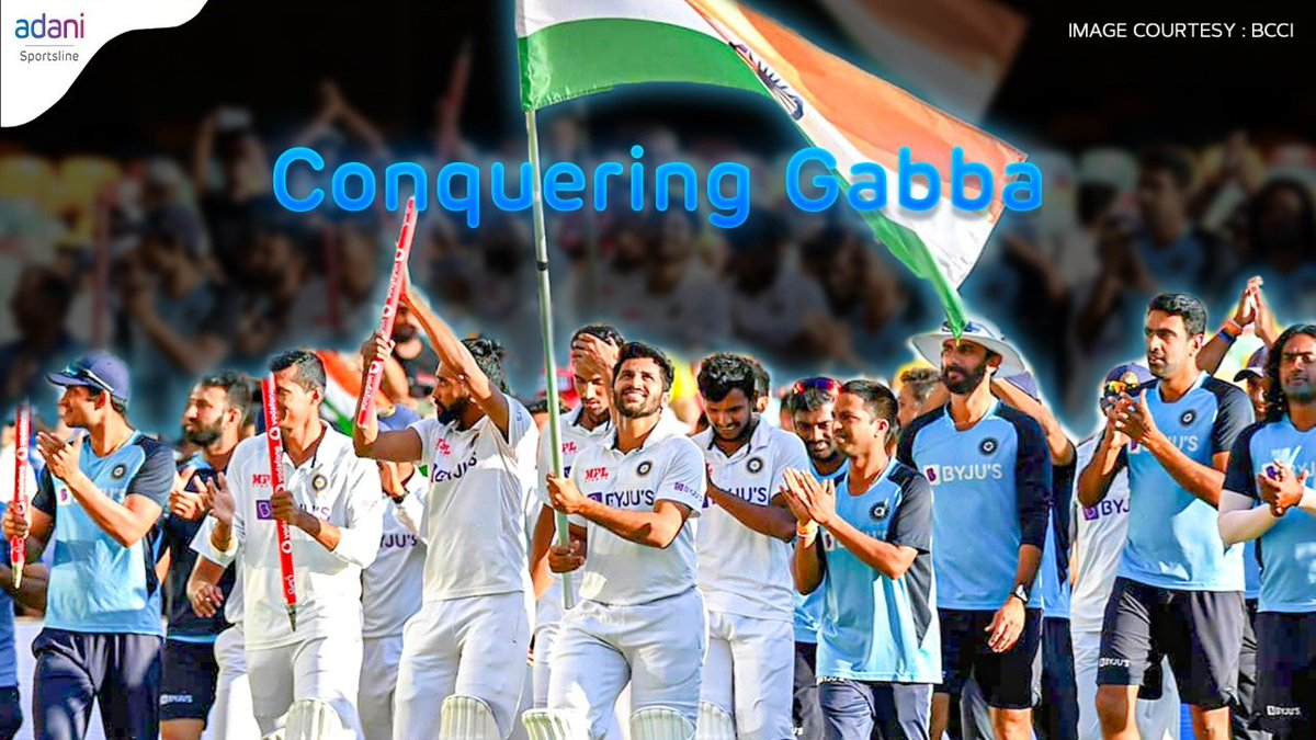 A historic win and an incredible performance by the Indian Cricket Team at Gabba, Australia.  🏏  Team India marches on making the whole nation proud by breaking the 32 years unbeaten streak. 🏆  #adanisportsline #IndiavsAustralia #testcricket #champions #TeamIndia