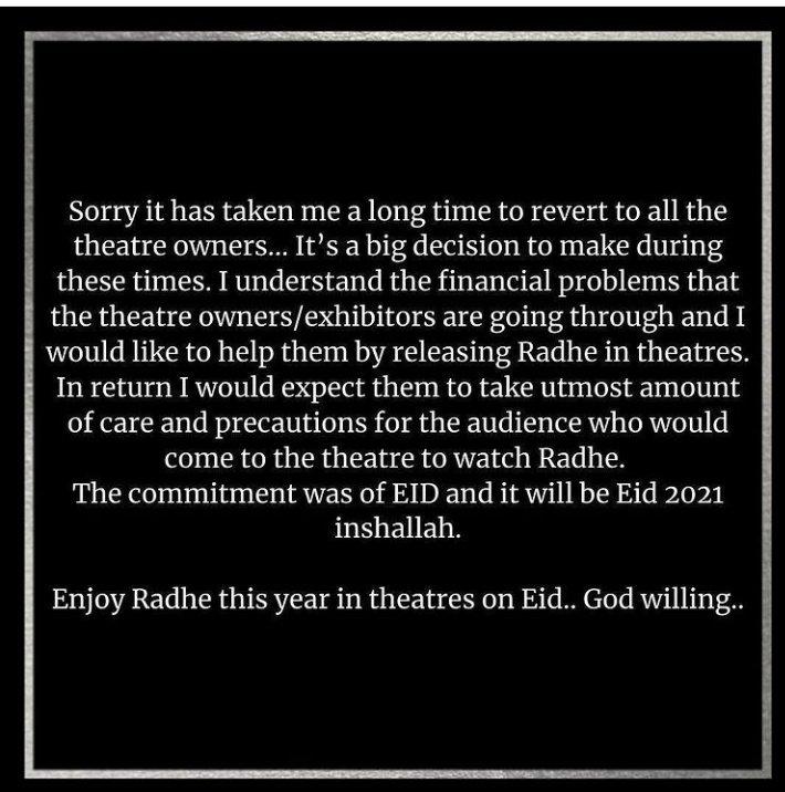 R R RRaaa  #Radhe this EID !!! Megastar #SalmanKhan reverted back ...People's man ..Indeed.