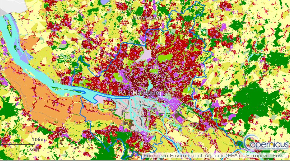 Interested in understanding the makeup of your city & its surroundings? Using @CopernicusLands Urban Atlas, you can find out land use & cover. For example, Hamburg in #Germany shows high levels of urban fabric, with orchards and some green areas. bit.ly/36HtU3g
